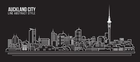 Paisaje urbano Edificio Línea diseño de ilustración, vector - ciudad de Auckland Ilustración de vector