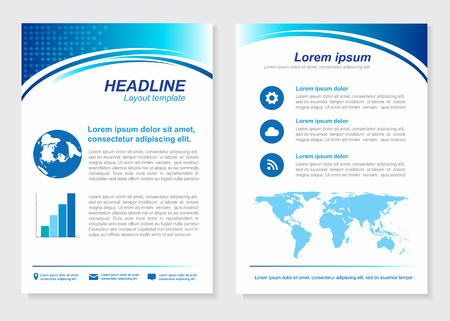 page layout: Layout template size A4 Front page and back page  Blue Vector  design Illustration