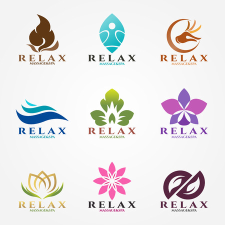 flower logo: logo vector set design for massage and spa business. Illustration