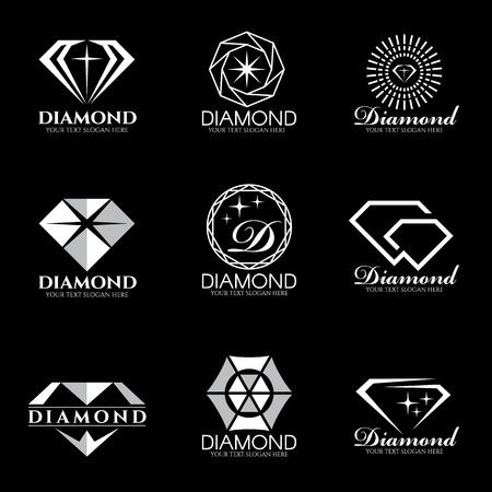 Diament wektor logo ustawić i izolować na czarnym tle