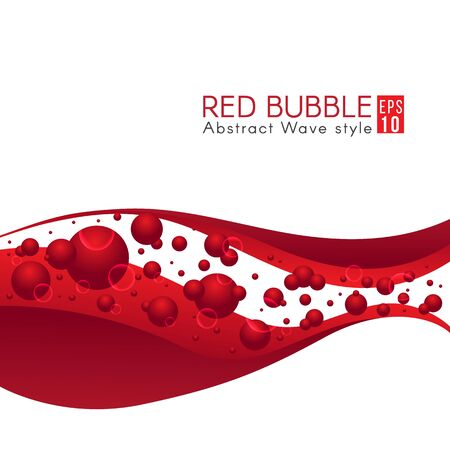 clean blood: Red bubble and wave abstract art vector design
