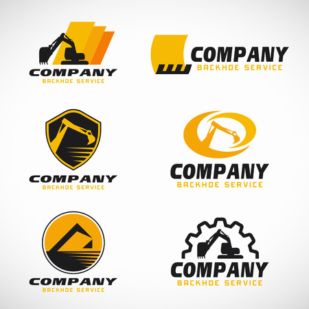 maquinaria: servicio de retroexcavadora amarillo y negro conjunto de diseño vector de la insignia Vectores
