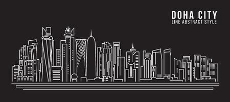 都市の景観建物ライン アート ベクトル イラスト デザイン - ドーハ  イラスト・ベクター素材