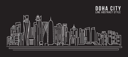 middle east: Cityscape Building Line art Vector Illustration design - doha city