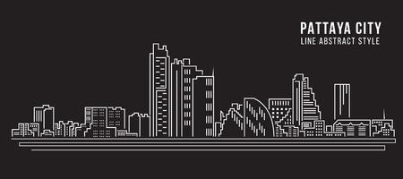 pattaya thailand: Cityscape Building Line art Vector Illustration design - pattaya city