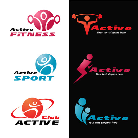 Active fitness and sport logo vector set design