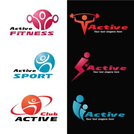 Active fitness en sport logo vector set ontwerp