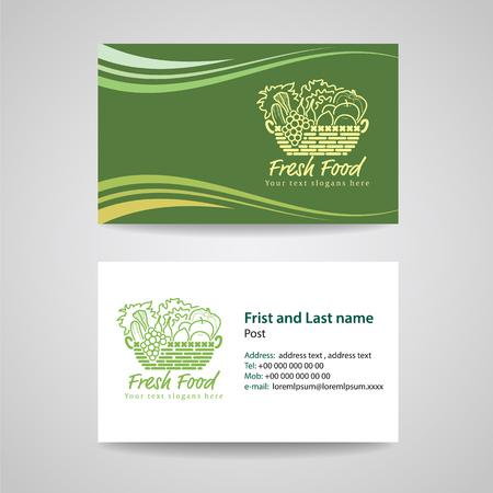 Business card Green background Template for Fresh food and basket vegetables logo vector design Vettoriali
