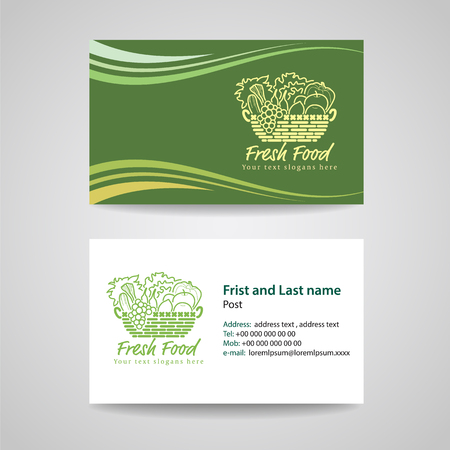 Business card Green background Template for Fresh food and basket vegetables logo vector design Vectores