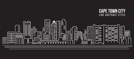 Stadtansicht von Gebäuden Linie Kunst Illustration Design - Kapstadt Stadt