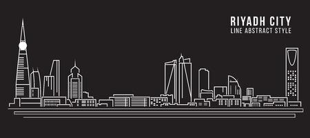 Paisaje urbano Edificio Línea diseño de arte Ilustración - ciudad de Riad Ilustración de vector