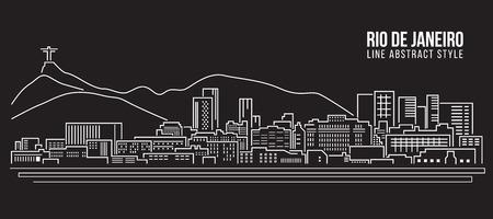 brasil: Cityscape Building Line art Illustration design - rio de janeiro city