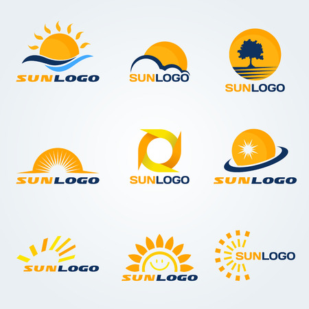 horizon: Sun logo (have Trees, clouds and water to composition) set art design