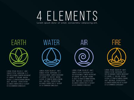Naturaleza 4 elementos círculo de signo. Agua, fuego, tierra, aire. sobre fondo oscuro. Ilustración de vector