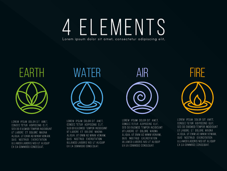 Nature 4 elements circle sign. Water, Fire, Earth, Air. on dark background.