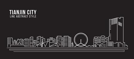property of china: Cityscape Building Line art Illustration design - tianjin city Illustration