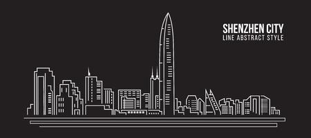 property of china: Cityscape Building Line art Illustration design - shenzhen city