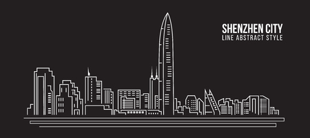 Cityscape Building Line art Illustration design - shenzhen city