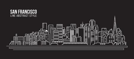 도시 건물 라인 아트 그림 디자인 - 샌프란시스코 도시