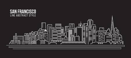 Cityscape Building Line art Illustration design - san francisco city
