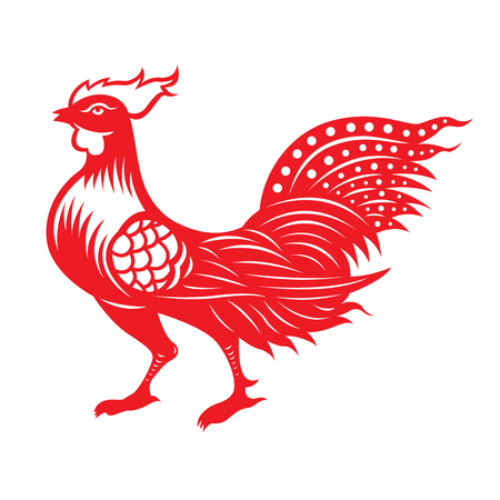 fortune flower: Red paper cut a chicken zodiac symbols