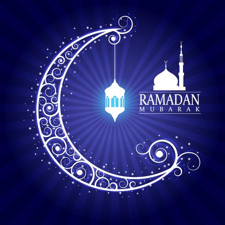 masjid: Ramadan mubarak - hanging lamps on moon and masjid on blue background design