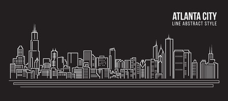 city scape: Cityscape Building Line art  Illustration design - Atlanta city Illustration