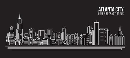 Cityscape Building Line art  Illustration design - Atlanta city Stock Illustratie