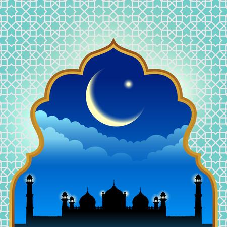 masjid: Gold arab window art and masjid at night design
