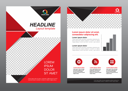 page design: Layout template size A4 cover page red and black tone design