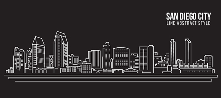 Cityscape Building Line art Illustration design - San Diego city