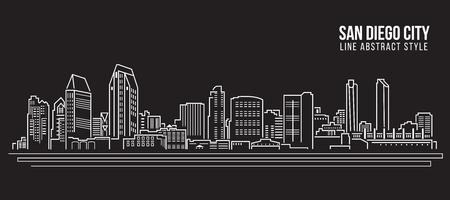 Stadtansicht von Gebäuden Linie Kunst Illustration Design - San Diego Stadt