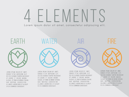 biogas: Nature 4 elements circle logo sign. Water, Fire, Earth, Air.