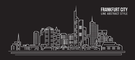 Cityscape Building Line art Vector Illustration design - frankfurt city Stock Vector - 58012242