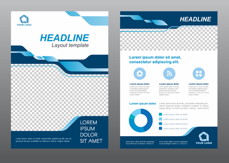 page layout: Layout flyer template size A4 cover page blue tone Vector design