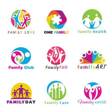 child care: Family logo circle art vector set design