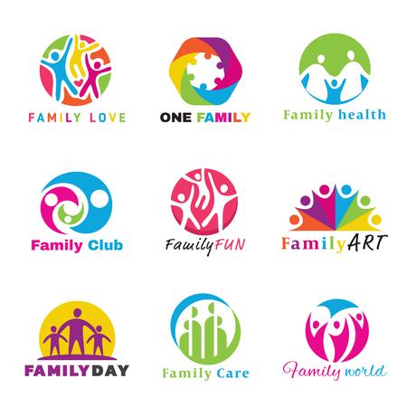 happy world: Family logo circle art vector set design