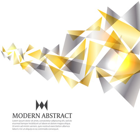 Gold and silver modern triangle art abstract background vector design