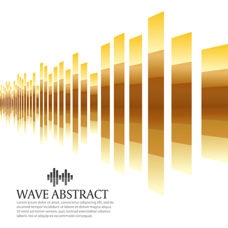 Gold bar wave abstract background vector design