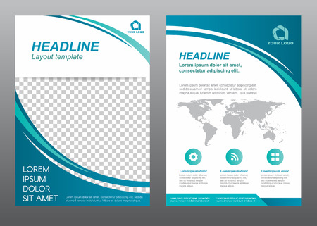 レイアウト チラシ テンプレート サイズ A4 表紙ページ青い曲線トーン ベクター デザイン