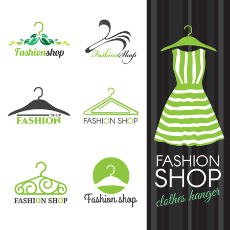 dress: Fashion shop logo - Green Clothes hanger vector set design Illustration