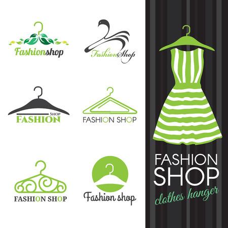 store: negozio di moda logo - vestiti verdi scenografia gancio vettore Vettoriali