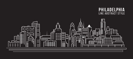 cityscape silhouette: Cityscape Building Line art Vector Illustration design - Philadelphia city Illustration