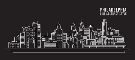 Paisaje urbano de construcción de línea de diseño de la ilustración de arte vectorial - la ciudad de Filadelfia Ilustración de vector
