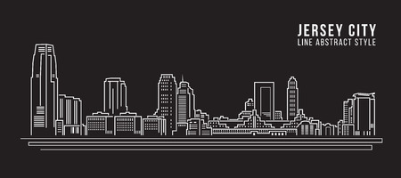 jersey city: Cityscape Building Line art Vector Illustration design - Jersey City