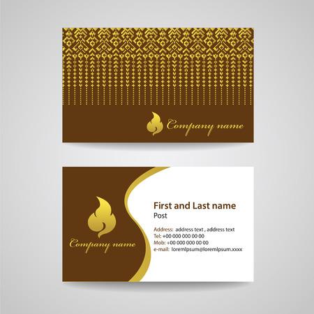 fabric art: Business card template - Gold brown thai fabric texture and thai art vector design Illustration