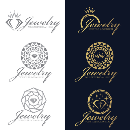 Gold and gray Jewelry logo vector set design Stock Illustratie