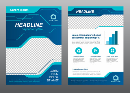 Layout flyer template size A4 cover page blue line art Vector design