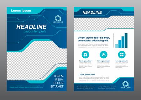 Layout modelo de folheto tamanho A4 capa azul linha arte desenho vetorial