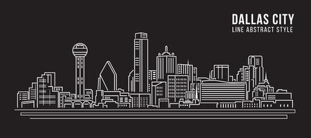 Paysage urbain bâtiment Ligne art design Vector Illustration - Dallas City Banque d'images - 58012726